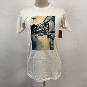 """Obey Men's T-Shirt """"Tony Alva"""" Cream Size M NWT"""